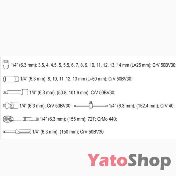 Набір торцевих головок YATO 25 предметів YT-14461 Тернопіль
