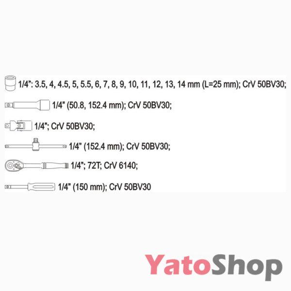 Набір головок 14 20пр Yato YT-1449 ціна