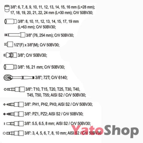 Набір головок 58 предметів Yato-YT-3857 купити