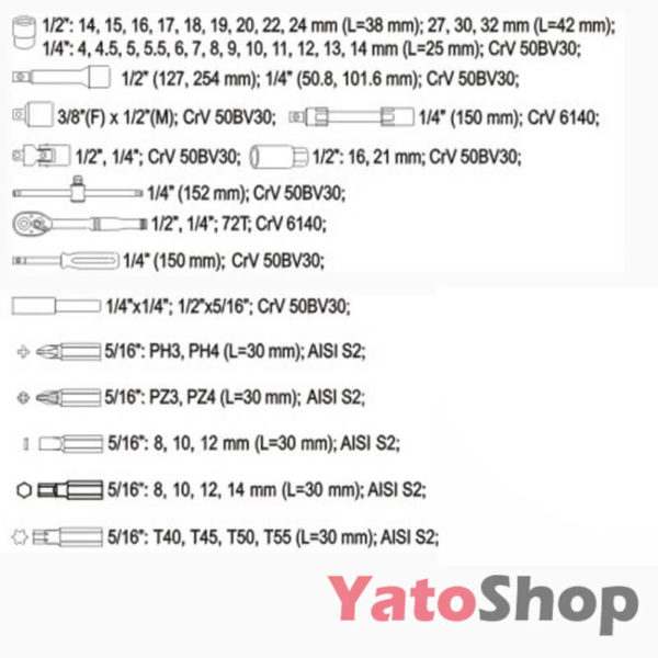 Набір інструментів YATO 82 предмети YT-1269 купити