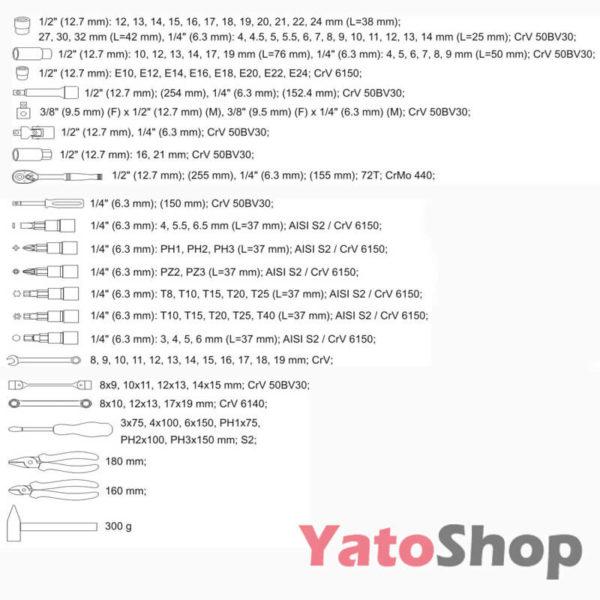 Набір інструментів Yato 109 предметівYT-38891 Львів