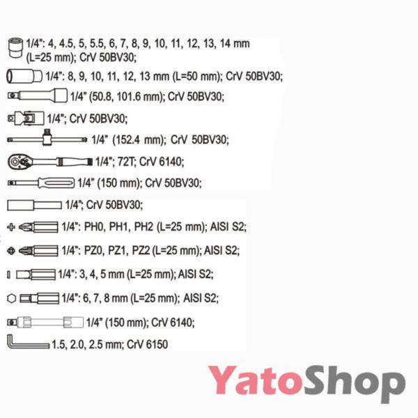 Набір інструменту 42 предмети YATO YT-1448 ціна
