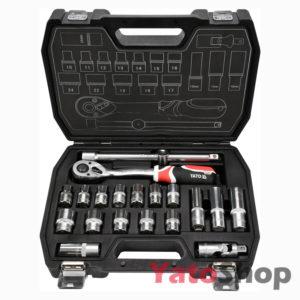 Набір торцевих головок 10-24мм 12 з тріщеткою і подовжувачем Yato YT-3869
