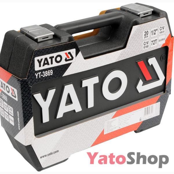 Набір торцевих головок 10-24мм 12 з тріщеткою і подовжувачем Yato YT-3869 фото