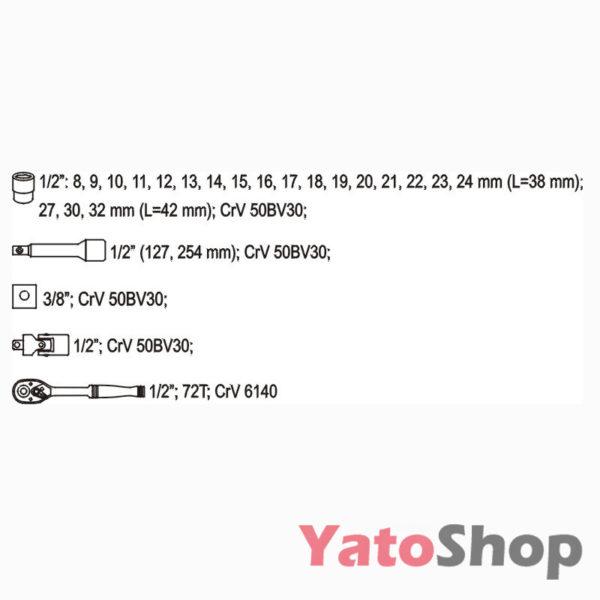 Набір торцевих головок Yato YT-3871