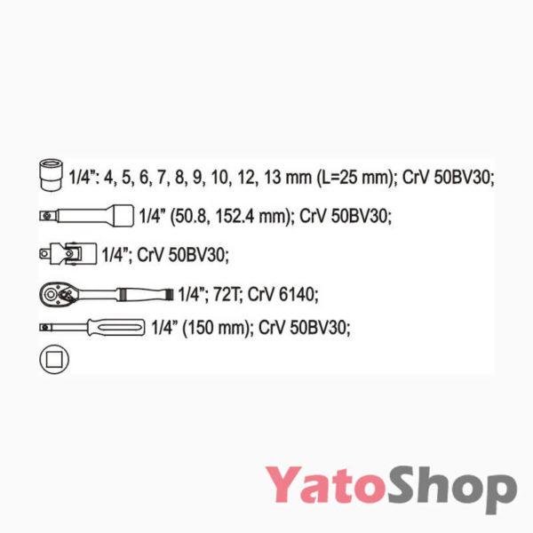 Професійний набір торцевих головок 14 4-13мм Yato YT-1444 купити