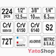Універсальний набір інструментів Yato YT-3894 224 предмети купити