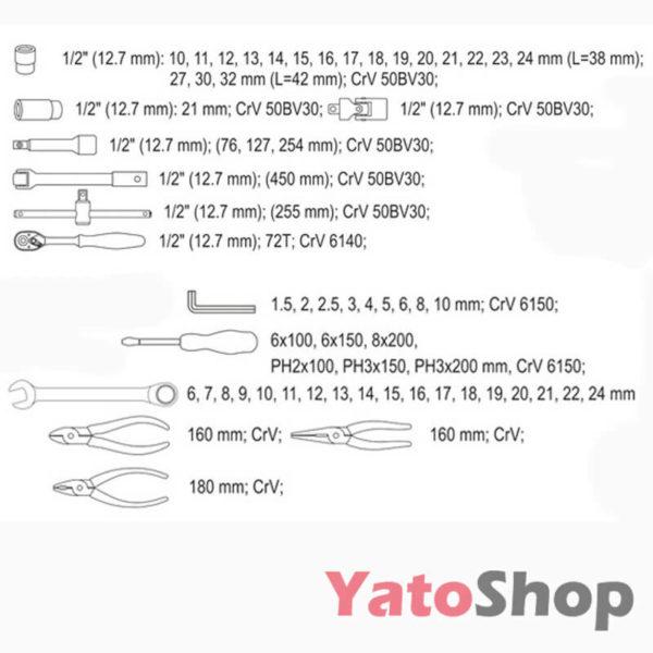 Ящик з інструментами Yato 62 предмета YT-3895 опис
