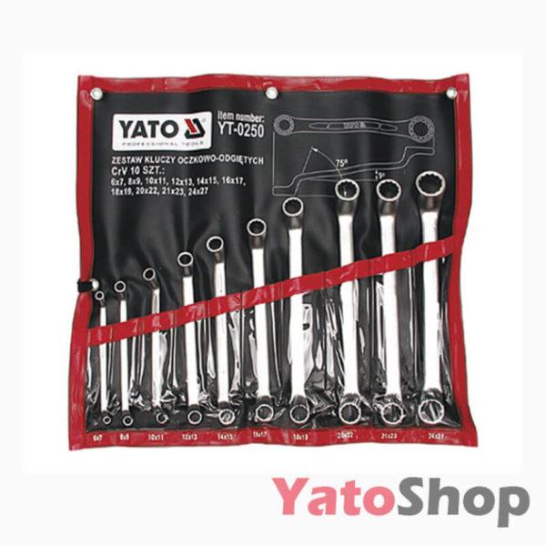 Набір ключів накидних вигнутих 10шт. 6-27мм Yato YT-0250