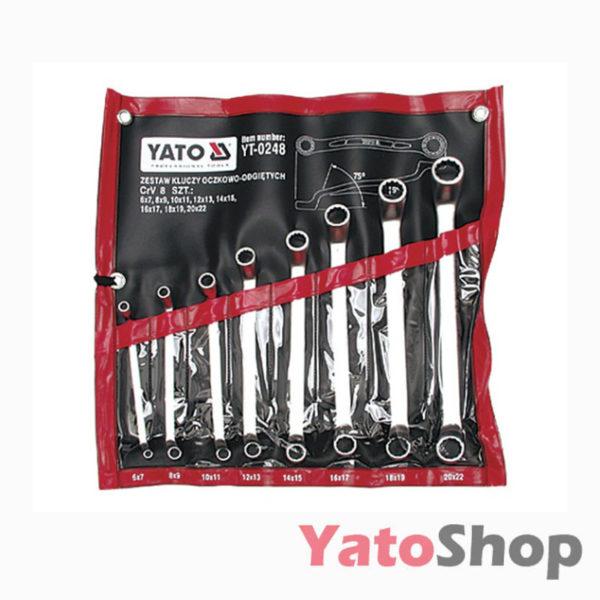 Набір накидних ключів вигнутих 8 штук 6-22мм Yato YT-0248