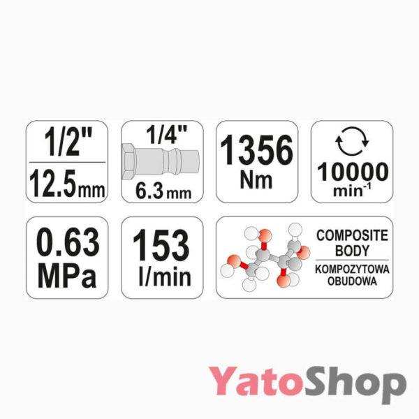 Гайковерт пневматичний 1356Нм Yato YT-0953 купити