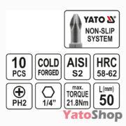 Набір біт хрестових PH2 50 мм 10штук YT-0478 Yato Рівне