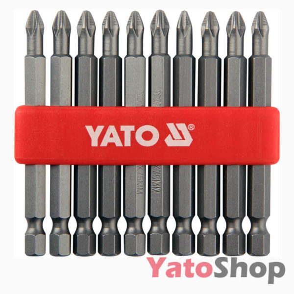 Набір біт хрестових PH2 75 мм 10 штук YT-0480