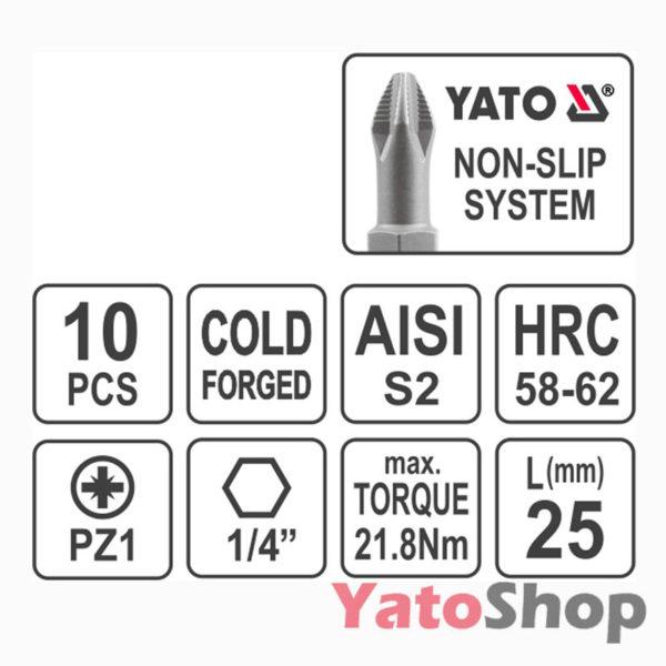 Набір біт хрестових PZ1 25 мм 10 штук YT-0470 Рівне