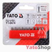 Набори біт хрестових PH1 25мм 10шт YT-0474 Yato