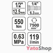 Пневматичний ударний гайковерт 550NM Yato YT-09511 ціна