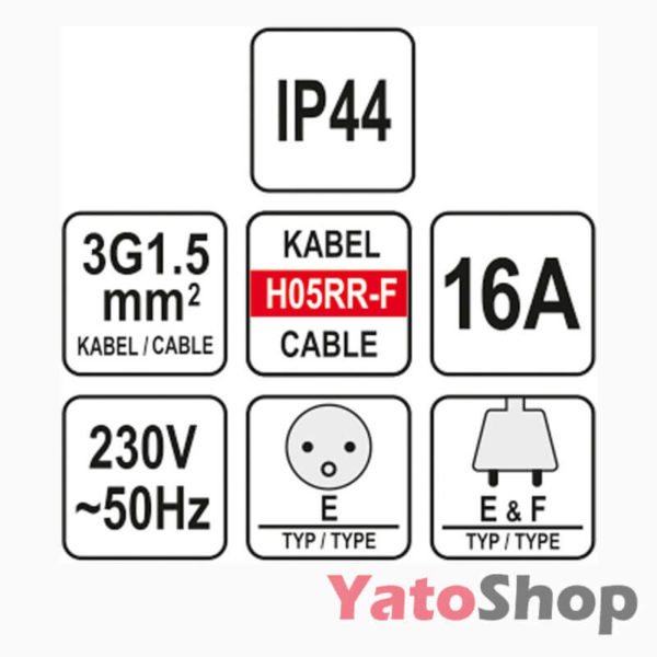 Подовжувач 2м 40x1.5 IP44 YT-81024 фото