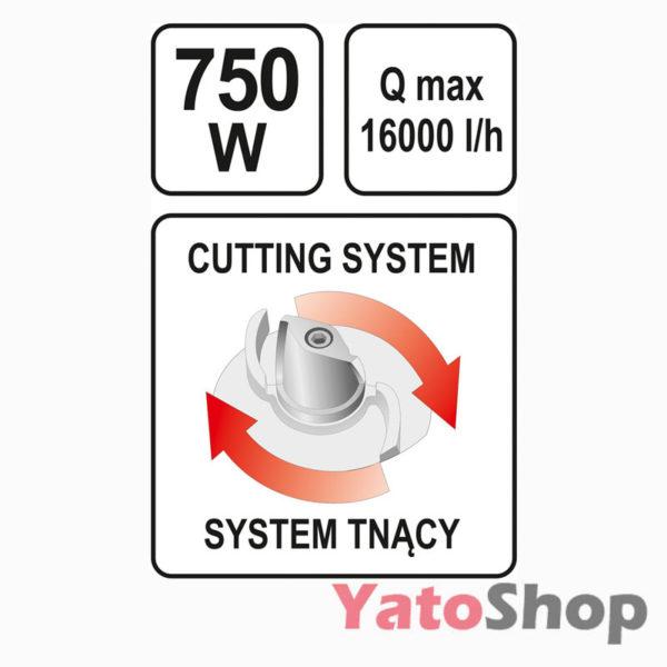 Погружний чавунний фекальний насос для каналізації з подрібнювачем 750Ватт Yato YT-85350 купити