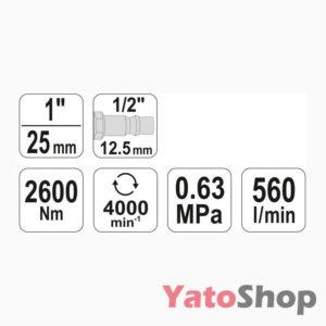 Потужний ударний пневматичний гайковерт Yato YT-0959 купити