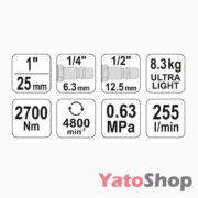 Професійний пневматичний гайковерт Yato YT-09611 купити